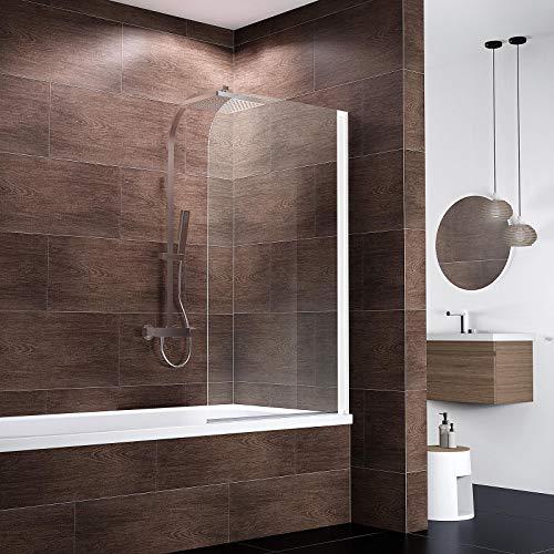 Ihr Wunschmaß millimetergenau, Schulte D165099 04 500 Duschwand Komfort, 5 mm Sicherheitsglas klar hell, alpinweiß, Duschabtrennung für Badewanne fixil beschichtet, Sondermaß - 2