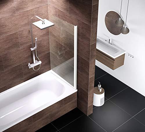 Ihr Wunschmaß millimetergenau, Schulte D165099 04 500 Duschwand Komfort, 5 mm Sicherheitsglas klar hell, alpinweiß, Duschabtrennung für Badewanne fixil beschichtet, Sondermaß - 3