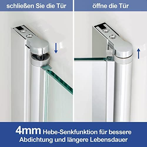 Meykoers Duschabtrennung 120x140cm Duschwand für Badewanne, Dreifalten Duschwand Badewannenaufsatz mit 6mm Nano Easy Clean Glas - 4
