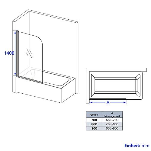 Meykoers Duschabtrennung 120x140cm Duschwand für Badewanne, Dreifalten Duschwand Badewannenaufsatz mit 6mm Nano Easy Clean Glas - 5
