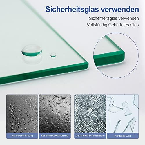 Meykoers Duschabtrennung 120x140cm Duschwand für Badewanne, Dreifalten Duschwand Badewannenaufsatz mit 6mm Nano Easy Clean Glas - 6