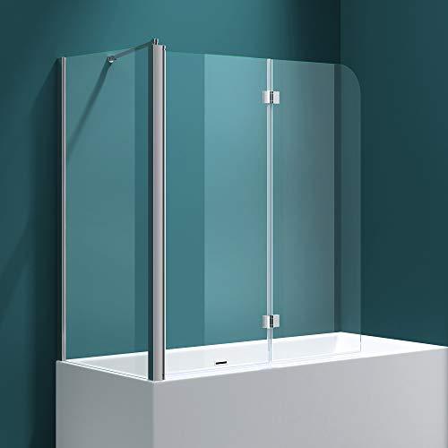 Badewannenfaltwand C113 Wandanschlag links in Klarglas 6 mm ESG-Glas Nano-Versiegelung BTH: 70x120x140cm - 2