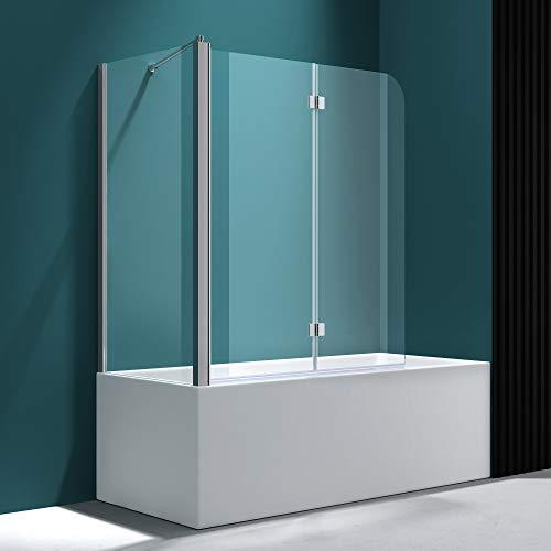 Badewannenfaltwand C113 Wandanschlag links in Klarglas 6 mm ESG-Glas Nano-Versiegelung BTH: 70x120x140cm - 6