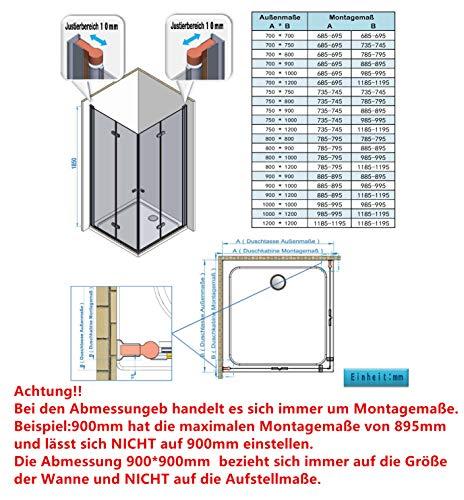 IMPTS Duschkabine faltbar Eckeinstieg 70x70 cm Doppel Duschtür Falttüren Falttürkabine 6mm Sicherheitsglas 185cm Höhe,OHNE Duschwanne - 7