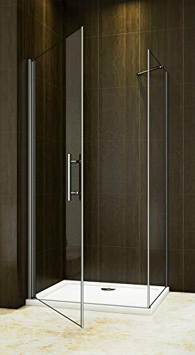 Duschkabine mit fester Seitenwand, Drehtür und Nanobeschichtung