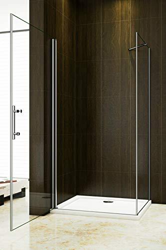 Duschkabine 70x70cm Duschabtrennung Duschtür Drehtür Duschwand Seitenwand NANO Glas 195cm - 2