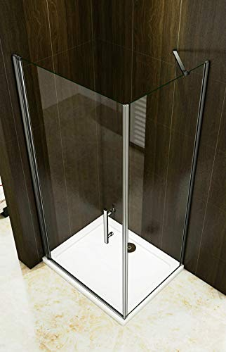 Duschkabine 70x70cm Duschabtrennung Duschtür Drehtür Duschwand Seitenwand NANO Glas 195cm - 3