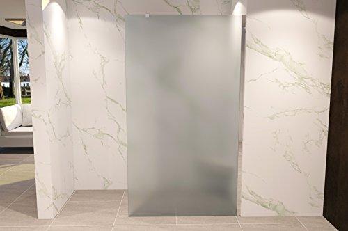 Duschabtrennung Duschwand Walk In Dusche 10mm STARK aus SATINIERTEM ESG Sicherheitsglas mit Edelstahl Wandprofilen #740 (70 x 200cm, Satiniertes Glas) - 2