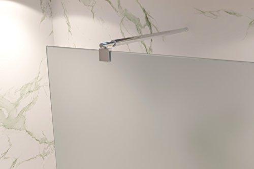Duschabtrennung Duschwand Walk In Dusche 10mm STARK aus SATINIERTEM ESG Sicherheitsglas mit Edelstahl Wandprofilen #740 (70 x 200cm, Satiniertes Glas) - 3