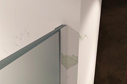 Duschabtrennung Duschwand Walk In Dusche 10mm STARK aus SATINIERTEM ESG Sicherheitsglas mit Edelstahl Wandprofilen #740 (70 x 200cm, Satiniertes Glas) - 4