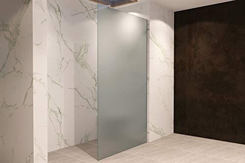 Duschabtrennung Duschwand Walk In Dusche 10mm STARK aus SATINIERTEM ESG Sicherheitsglas mit Edelstahl Wandprofilen #740 (70 x 200cm, Satiniertes Glas) - 5