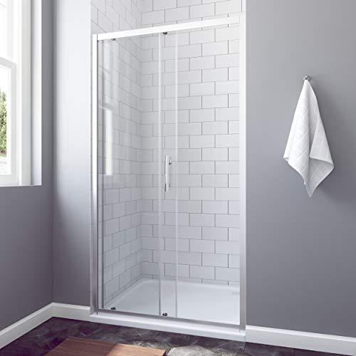 AQUABATOS® 100 x 185 cm Nischenschiebetür Duschabtrennung Duschtür Nischentür Schiebetür Duschwand Glas Dusche ESG - 2