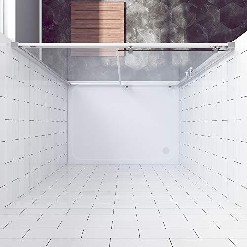 AQUABATOS® 100 x 185 cm Nischenschiebetür Duschabtrennung Duschtür Nischentür Schiebetür Duschwand Glas Dusche ESG - 3