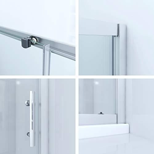 AQUABATOS® 100 x 185 cm Nischenschiebetür Duschabtrennung Duschtür Nischentür Schiebetür Duschwand Glas Dusche ESG - 4