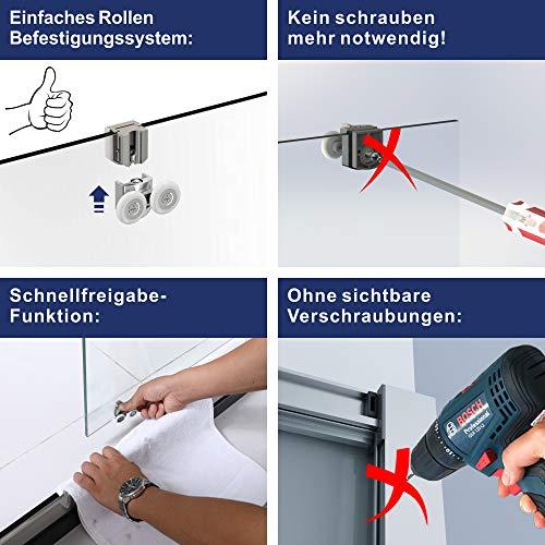 AQUABATOS® 100 x 185 cm Nischenschiebetür Duschabtrennung Duschtür Nischentür Schiebetür Duschwand Glas Dusche ESG - 5