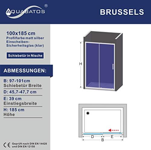 AQUABATOS® 100 x 185 cm Nischenschiebetür Duschabtrennung Duschtür Nischentür Schiebetür Duschwand Glas Dusche ESG - 6
