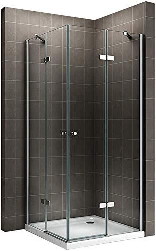 Duschkabine mit Eckeinstieg, festen Seitenwänden und Nanobeschichtung