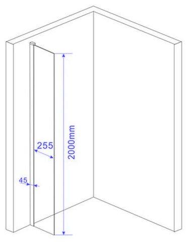 10 mm Duschtrennwand FREE-Mini 30 x 200 cm - 5