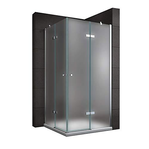 Satinierte Duschkabine mit Eckeinstieg, festen Seitenwänden und Nanobeschichtung