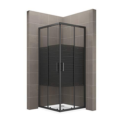Schwarze Duschkabine DK67 mit Schiebetüren, Eckeinstieg und Nanobeschichtung