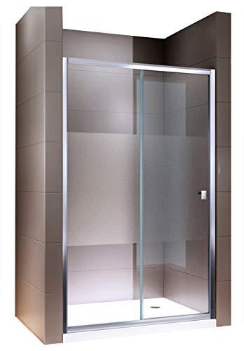 Duschtür Schiebetür EX505 mit Milchglas-Streifen und Nanobeschichtung