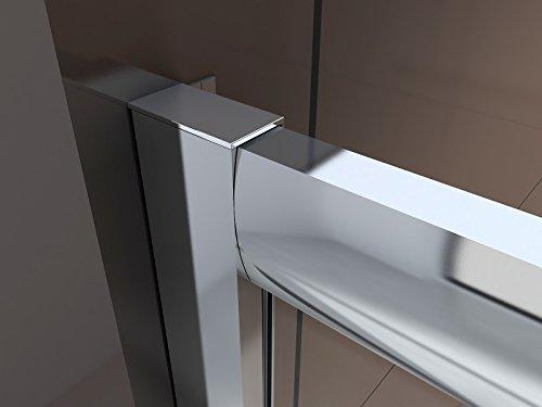 Duschabtrennung Schiebetür NANO Echtglas EX505 - Milchglas-Streifen - Breite wählbar, Breite:1000mm - 2