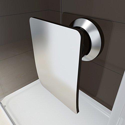 Duschabtrennung Schiebetür NANO Echtglas EX505 - Milchglas-Streifen - Breite wählbar, Breite:1000mm - 3