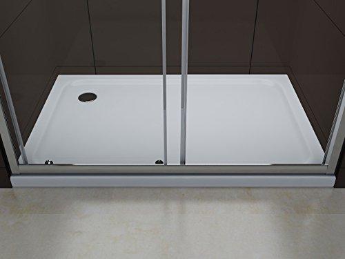 Duschabtrennung Schiebetür NANO Echtglas EX505 - Milchglas-Streifen - Breite wählbar, Breite:1000mm - 4