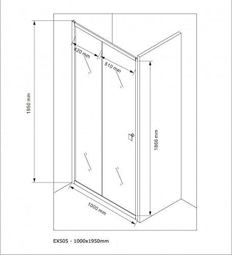 Duschabtrennung Schiebetür NANO Echtglas EX505 - Milchglas-Streifen - Breite wählbar, Breite:1000mm - 6