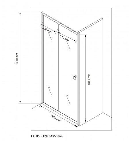 Duschabtrennung Schiebetür NANO Echtglas EX505 - Milchglas-Streifen - Breite wählbar, Breite:1000mm - 8