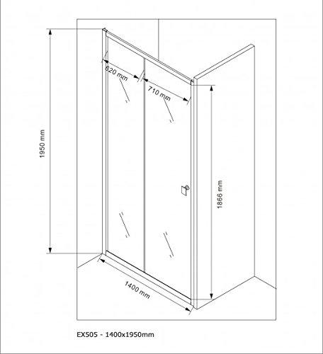 Duschabtrennung Schiebetür NANO Echtglas EX505 - Milchglas-Streifen - Breite wählbar, Breite:1000mm - 9