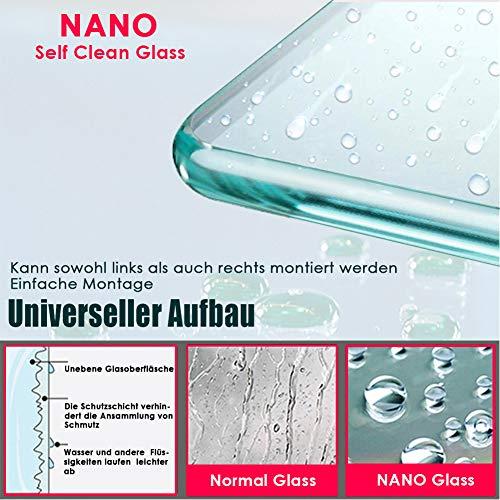 70x200cm Walk in Duschwand, NANO ESG 8mm, Duschtrennwand Glaswand mit Stabilisator - 4