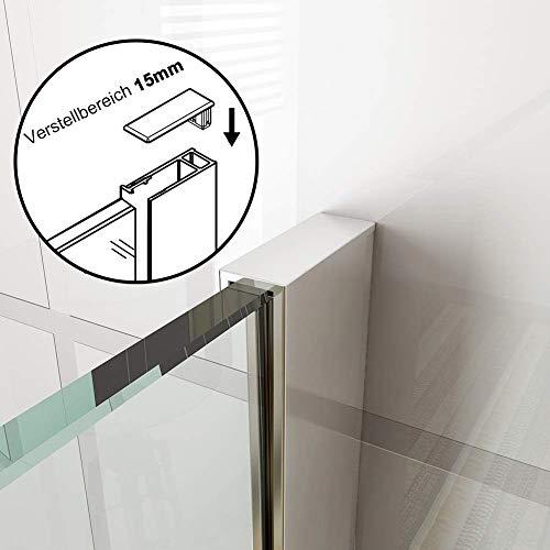 70x200cm Walk in Duschwand, NANO ESG 8mm, Duschtrennwand Glaswand mit Stabilisator - 5