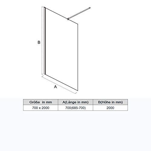 70x200cm Walk in Duschwand, NANO ESG 8mm, Duschtrennwand Glaswand mit Stabilisator - 7