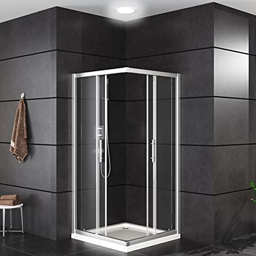 Oimex OT Eckeinstieg Duschkabine ohne Tasse 80x80 oder 90x90, 180 cm mit Verstellbereich, Echtglas, Schiebetüren mit Rollen, Größe: 80 x 80 x 180cm, Farbe: Klar - 2