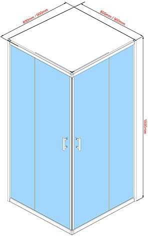Oimex OT Eckeinstieg Duschkabine ohne Tasse 80x80 oder 90x90, 180 cm mit Verstellbereich, Echtglas, Schiebetüren mit Rollen, Größe: 80 x 80 x 180cm, Farbe: Klar - 3