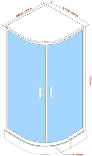 OIMEX Viertelkreis Rund Duschkabine Eckeinstieg Duschabtrennung Schiebetüren aus Echt-Glas ESG mit Tasse und Gestell 80x80 195cm Transparent Sichtschutz, Größe: 80 x 80 x 195cm, Farbe: Mit Streifen - 4