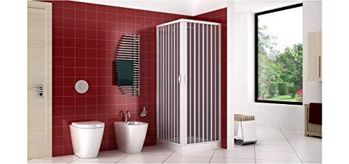 Duschkabine Duschabtrennung in PVC Kunststoff, 70 x 70 cm, Höhe 170 cm, Eckeinstieg, WEISS, maximale Öffnung durch Falttüren - 2