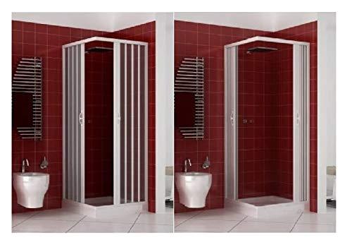 Duschkabine Duschabtrennung in PVC Kunststoff, 70 x 70 cm, Höhe 170 cm, Eckeinstieg, WEISS, maximale Öffnung durch Falttüren - 3