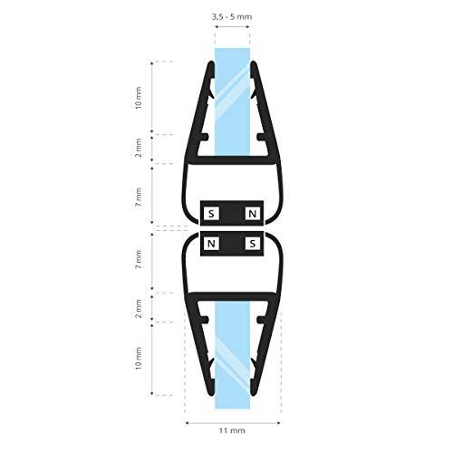 STEIGNER Magnetduschdichtung SET, 201cm, Glasstärke 3,5/4/ 5mm, Ersatzdichtung für 180 Grad Duschtür, UKM01, 2 Stück - 2