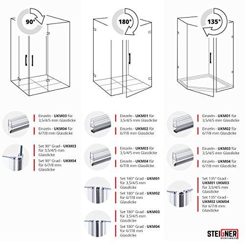 STEIGNER Magnetduschdichtung SET, 201cm, Glasstärke 3,5/4/ 5mm, Ersatzdichtung für 180 Grad Duschtür, UKM03, 2 Stück - 6