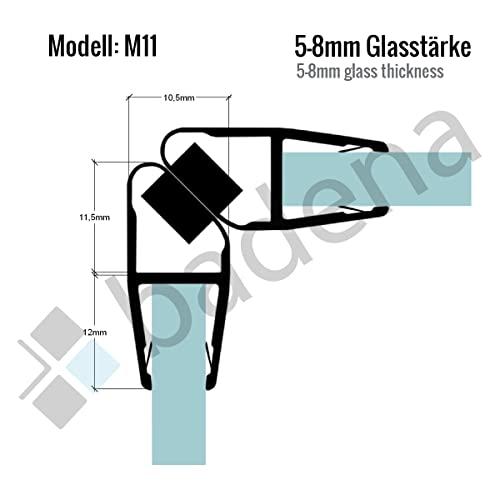 200cm M11 - DUSCHDICHTUNG Magnetdichtung für 5mm/ 6mm/ 8mm Glasstärke Wasserabweiser Duschdichtung DPD Schwallschutz Duschkabine Magnetduschdichtung .one-bath - 2