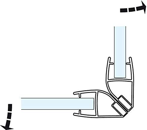 Gedotec Magnet-Dichtung Duschtür Duschdichtung 90° für Duschtrennwände - Duschkabinen - Schiebetüren   PVC Transparent   Glastür-Dichtung für Glasdicke 8-10 mm   1 Stück - Dichtlippe für Glastüren - 2