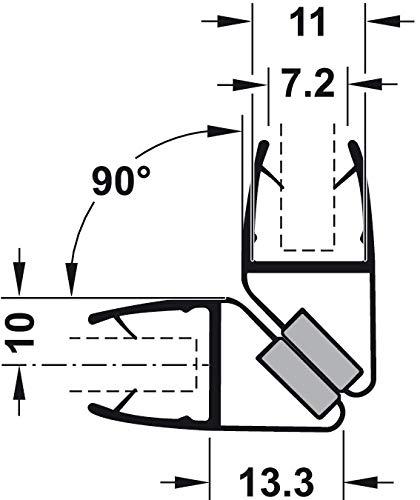 Gedotec Magnet-Dichtung Duschtür Duschdichtung 90° für Duschtrennwände - Duschkabinen - Schiebetüren   PVC Transparent   Glastür-Dichtung für Glasdicke 8-10 mm   1 Stück - Dichtlippe für Glastüren - 3