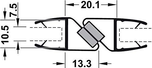 Gedotec Magnet-Dichtung Tür-Glastürdichtung Duschtür-Dichtung für Duschkabinen 180° | Länge 2000 mm | PVC Transparent | Duschdichtung für Glasdicke 8-10 mm | 1 Stück - Türdichtung mit Zuhaltung - 2