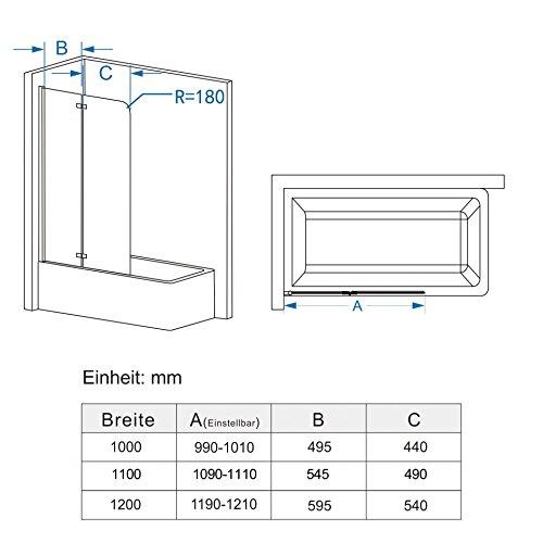 Zweiteilige Badewannenfaltwand mit Nanobeschichtung von MIQU - 3