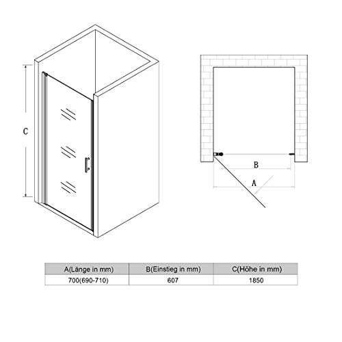 Rahmenlose Duschtür aus Klarglas - 7
