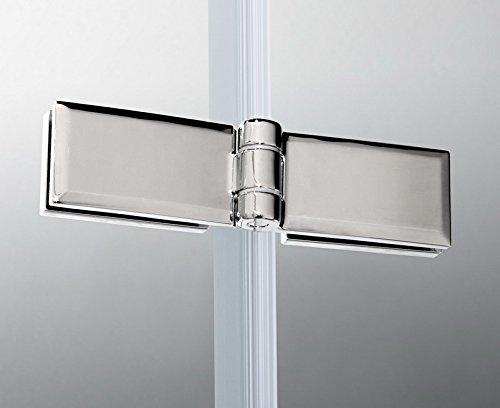 Duschtür Drehtür aus Klarglas mit feststehendem Glaselement und Nanobeschichtung - 2