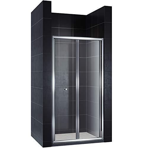 Hochwertige Duschtür Falttür aus Klarglas mit Aluminiumrahmen