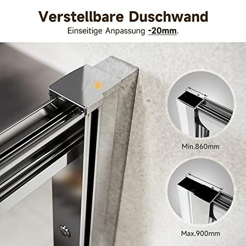 Duschkabine 90cm in Nische Nischentür Falttür Duschtür Duschwand glas faltbar - 3